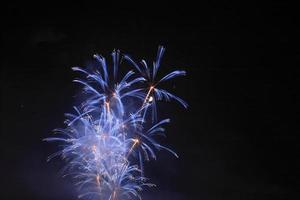 Japanese traditional fireworks in the night sky