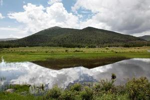 Sky reflection over Eight Lakes Navel, Mongolia. photo