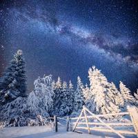 magisch winterlandschap en de sterrenhemel