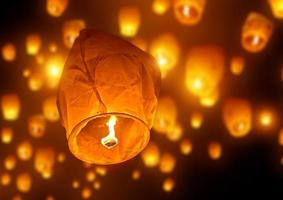 Sky full of traditional candle lanterns celebrations