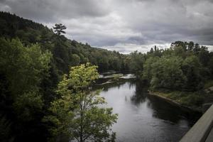 River with dark skies