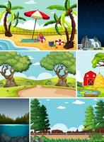 seis escenas diferentes en la naturaleza.