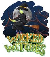 Wicked witches on isolated night background