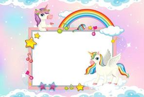 Blank banner with cute unicorns in sky