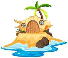 casa de cuento de hadas de concha en la playa de dibujos animados
