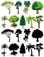 Set of plant and trees with silhouettes