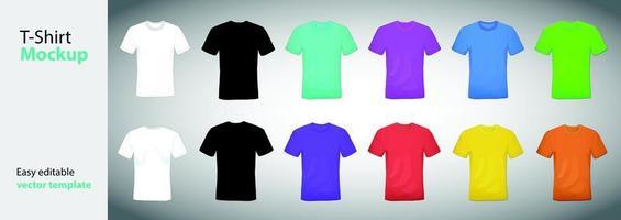 camisetas de diferentes colores con conjunto de maquetas de manga corta vector