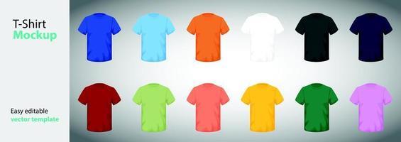Plantillas de camisetas de diferentes tamaños y colores. vector