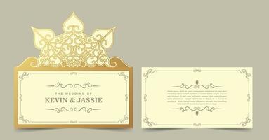Wedding template cut style invitation vector