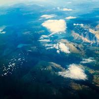 View from airplane flying over Norway. photo