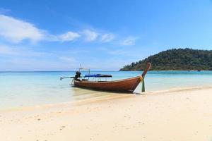 Boat on the beach with blue sky