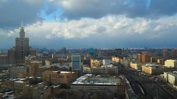 Partly cloudy winter time lapse. Leningradsky prospekt avenue , Moscow. FullHD video