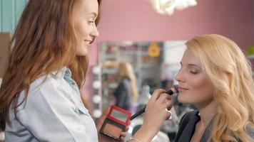 Portrait of smiling business woman with make up, in beauty salon video
