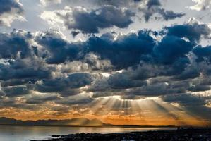 Sky Beams over False Bay, Cape Peninsular, South Africa photo