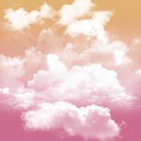 fantasía cielo rosa y tono naranja y blanco nublado