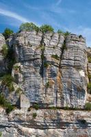 The rock wall in gorge of river Ardeche