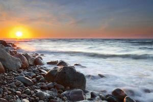 The pebble beach at sunset - Rozewie, Poland, long exposure
