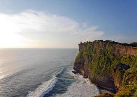 Sunset at Uluwatu Temple on top of big cliffs