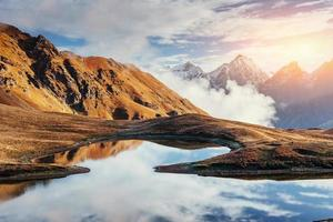 The picturesque landscape in the mountains. Upper Svaneti, Georg