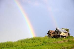rainbow on hut