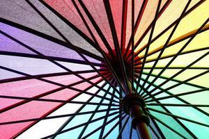 dentro del paraguas de colores del arco iris con gotas de lluvia foto