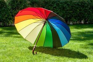 Rainbow coloured umbrella on the grass photo