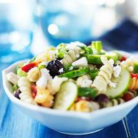 rainbow rotina pasta salad in greek style