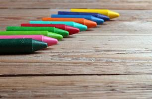 Crayons on a table photo