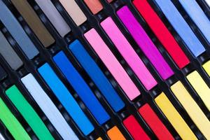 Set of colored crayons photo