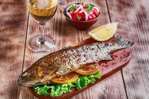 roasted baked whole trout fish