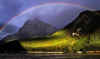 Rainbow stormy sunset train Yoho National Park