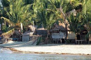 Huts in Bolo Beach, Philippines photo