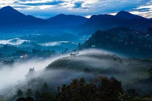 Nature sunrise landscape, fog and mist