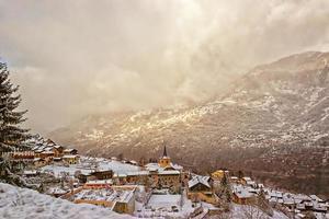 French alpine village winter view photo
