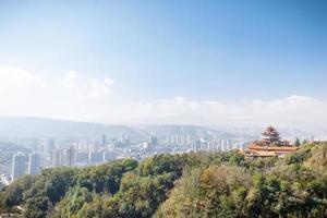 landscape of temple on hill in clear sky,cityscape distant