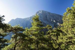 Mountains trail with blue sky. Samaria Gorge in Greece, Crete photo