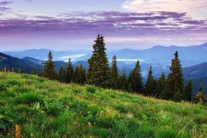 Fantastic sunset in the mountains of Ukraine. photo