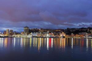 Genoa in Italy by night photo