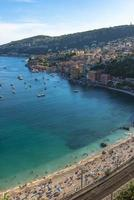 Aerial view of Villefranche-sur-Mer coast with yachts sailing in photo