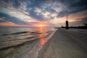 evening landscape sandy coast of the Black Sea in Ukraine.