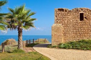 Promenade and ancient tomb in Ashkelon, Israel. photo