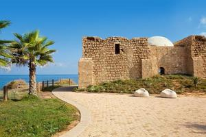 Promenade and ancient tomb in Ashqelon, Israel. photo