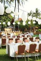 Outdoor setup for wedding reception photo