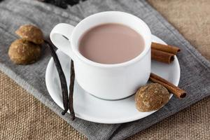 Cup of chocolate with vanilla and cinnamon photo