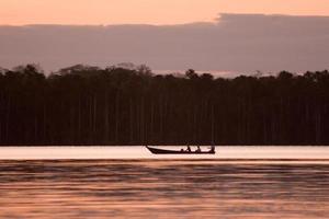 paisaje del lago sandoval y barco