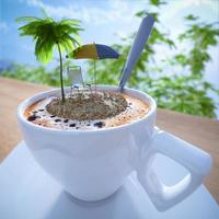 xícara de café conceito relaxante composição de férias