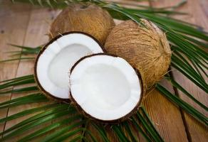 Fresh coconuts on the table