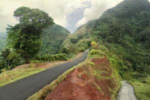 Winding road through Dominica, Caribbean islands