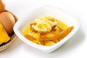 Thai dessert,pumpkin in coconut milk