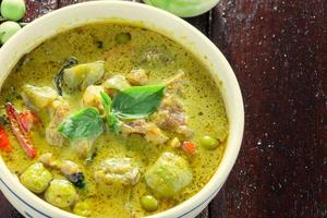 the pork green curry and eggplant on wood background.